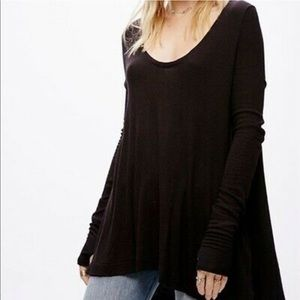 We The Free People Black Thermal Long Sleeve tunic